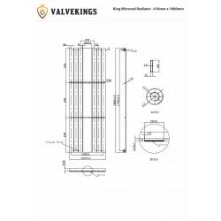 King Chrome Mirror Designer Radiator - 610 x 1800mm - Technical Drawing