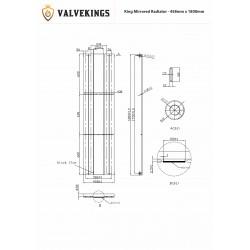 King White Mirror Designer Radiator - 458 x 1800mm - Technical Drawing