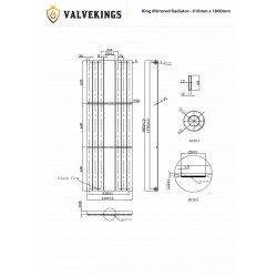 King White Mirror Designer Radiator - 610 x 1800mm - Technical Drawing