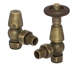 Antique Brass Traditional Thermostatic Angled Radiator Valves