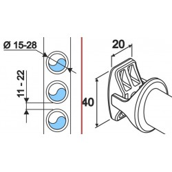 White Robe Hook - V Design - Technical Drawing