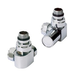 Chrome D- Profile Radiator Valves Corner