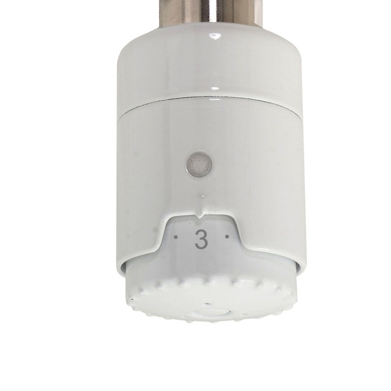 RICA Atlantis White Thermostatic Electric Heating Element - Dial Closeup
