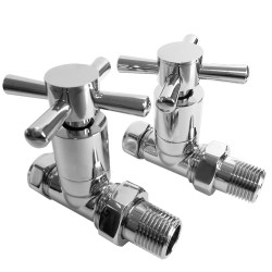 Straight Chrome Cross Head Traditional Radiator Valves