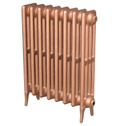 Victoriana 4 Column Cast Iron Radiator - 660mm High - 3 Quarter View Copper