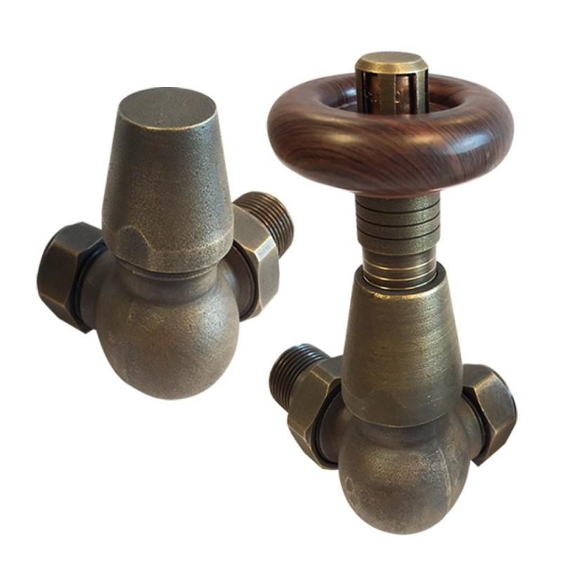 Antique Bronze Traditional Thermostatic Corner Radiator Valves