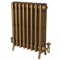 Neo Georgian 4 Column Cast Iron Radiator - 660mm High - Aged gold