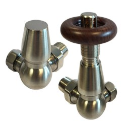 Brushed Nickel Traditional Thermostatic Corner Radiator Valves