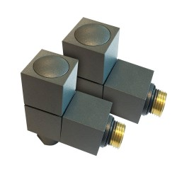 Angled Anthracite Square Radiator Valves