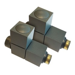 Straight Anthracite Square Radiator Valves