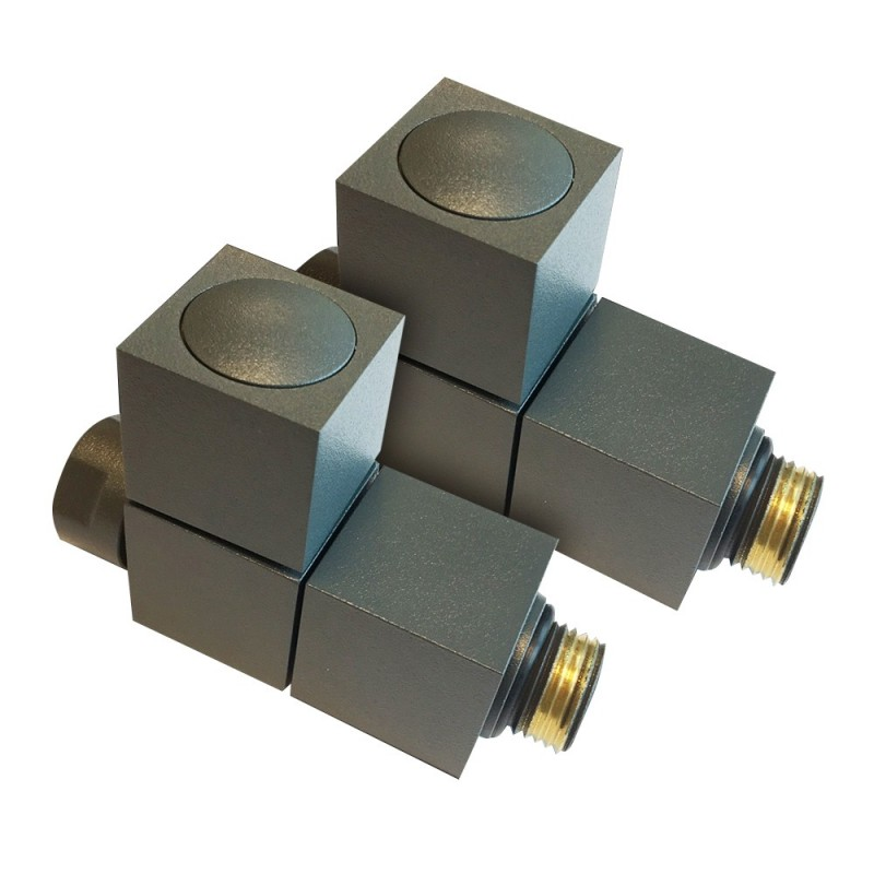 Straight Anthracite Square Radiator Valves