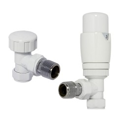 White Thermostatic Angled Radiator Valves