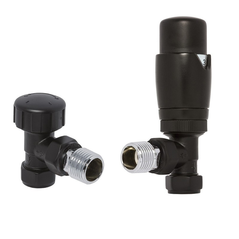 Black Thermostatic Angled Radiator Valves