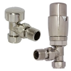 Brushed Nickel Thermostatic Angled Radiator Valves