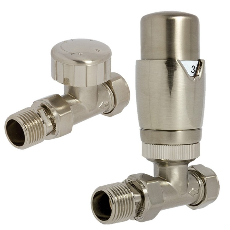 Brushed Nickel Thermostatic Straight Radiator Valves
