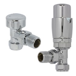 Chrome Thermostatic Angled Radiator Valves