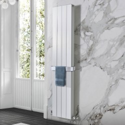 Sovereign White Double Aluminium Radiator - 375 x 1800mm - Installed