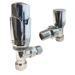 Angled Chrome Thermostatic Radiator Valves