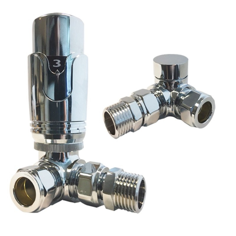 Corner Chrome Thermostatic Radiator Valves