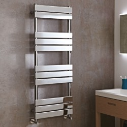 Roma Chrome Designer Towel Rail - 500 x 1300mm - Installed in bathroom