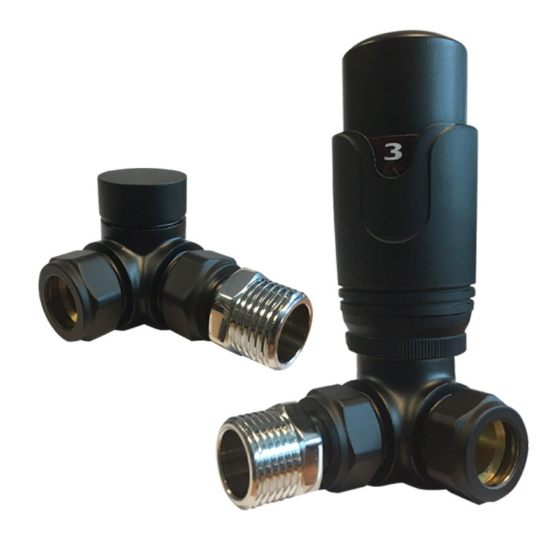 Corner Black Thermostatic Radiator Valves