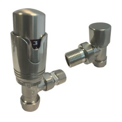Angled Brushed Nickel Thermostatic Radiator Valves