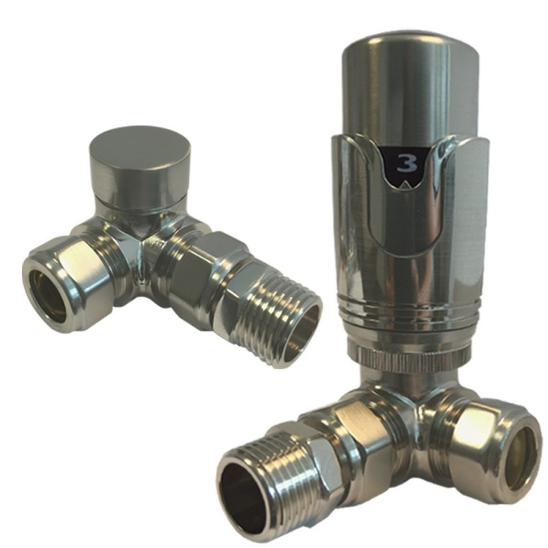Corner Brushed Nickel Thermostatic Radiator Valves