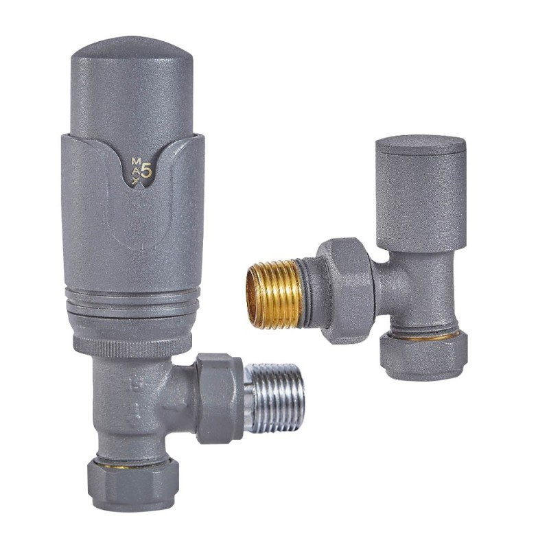 Angled Anthracite Thermostatic Valves (Pair)