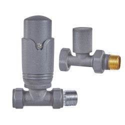 Straight Anthracite Thermostatic Valves (Pair)