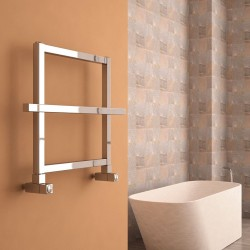 Carisa Ajax I Polished Aluminium Designer Towel Rail - 600 x 450mm