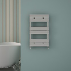 Carisa Elliptic Bath Polished Aluminium Designer Towel Rail - 500 x 790mm - Installed