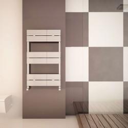 Carisa Monza Bath Polished Aluminium Designer Towel Rail - 500 x 790mm - Installed