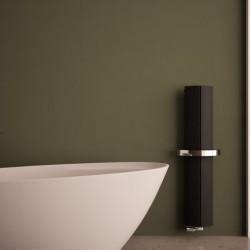 Carisa Nixie Bath Black Aluminium Designer Towel Rail - 205 x 1200mm - Installed