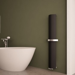 Carisa Nixie Bath Black Aluminium Designer Towel Rail - 205 x 1500mm - Installed