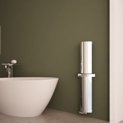 Carisa Nixie Bath Polished Aluminium Designer Towel Rail - 205 x 1200mm - Installed