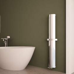 Carisa Nixie Bath Polished Aluminium Designer Towel Rail - 205 x 1500mm - Installed