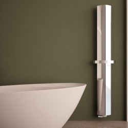 Carisa Nixie Bath Polished Aluminium Designer Towel Rail - 205 x 1800mm - Installed