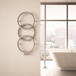 Carisa Halo Brushed Stainless Steel Designer Towel Rail - 400 x 930mm