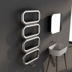 Carisa Talent Brushed Stainless Steel Designer Towel Rail - 500 x 1040mm - Installed