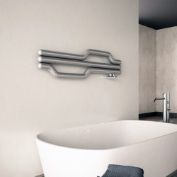 Carisa Lepus Brushed Stainless Steel Designer Towel Rail - 1200 x 335mm - Installed