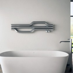 Carisa Lepus Polished Stainless Steel Designer Towel Rail - 1200 x 335mm - Installed