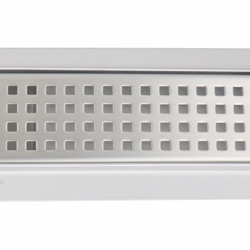 Rectangular Stainless Steel Wet Room Drains - Square Patterned Design