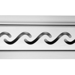 Rectangular Stainless Steel Wet Room Drains - Wave Design