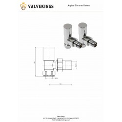 Chrome Manual Angled Radiator Valves Technical Drawing