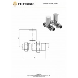 Chrome Manual Straight Radiator Valves Technical Drawing