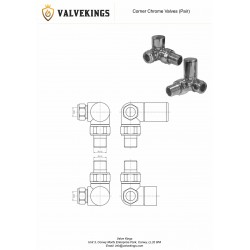 Chrome Manual Corner Radiator Valves Technical Drawing