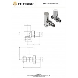 Chrome Manual Mixed Radiator Valves Technical Drawing