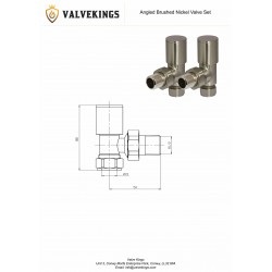 Brushed Nickel Manual Angled Radiator Valves Technical Drawing