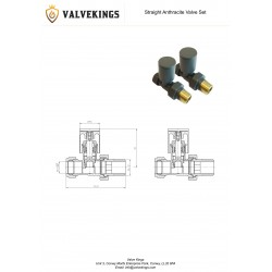 Anthracite Manual Straight Radiator Valves Technical Drawing