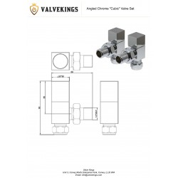 Chrome Cubic Manual Angled Radiator Valves Technical Drawing